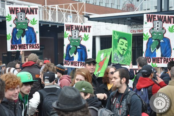 Weed pass protest in Amsterdam